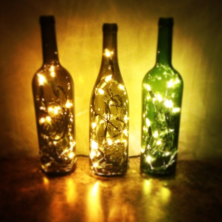 Wine bottle christmas lights wedding planning pinterest for Light up wine bottles