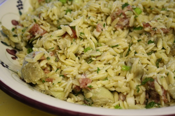 Artichoke Orzo Salad with prosciutto | Food and Wine | Pinterest