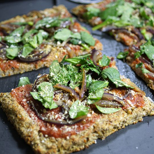 Vegan cauliflower pizza crust. (maybe substitute sunflower seeds for ...