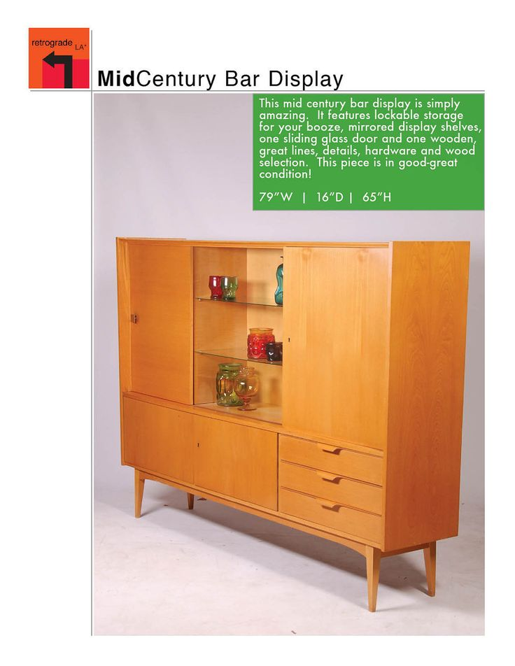Large mid century modern bar display wall unit for Modern wall bar unit