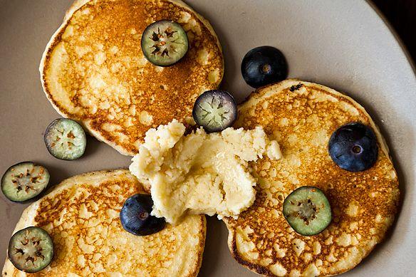 "Ricotta Hotcakes with Maple Butter (recipe) - ""Three-bite pancakes ..."