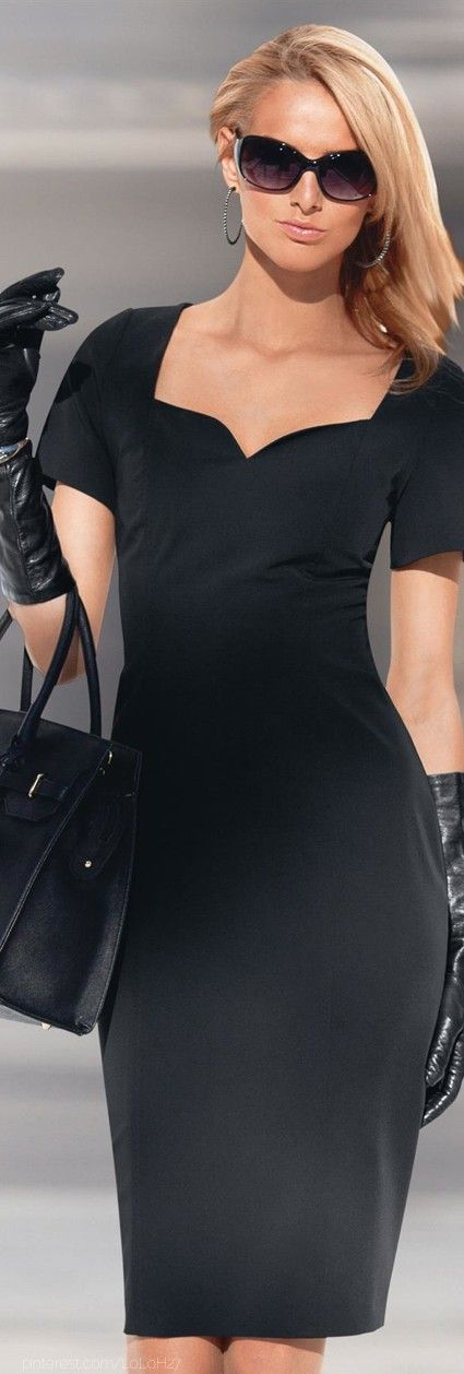 black dress with gloves and handbag