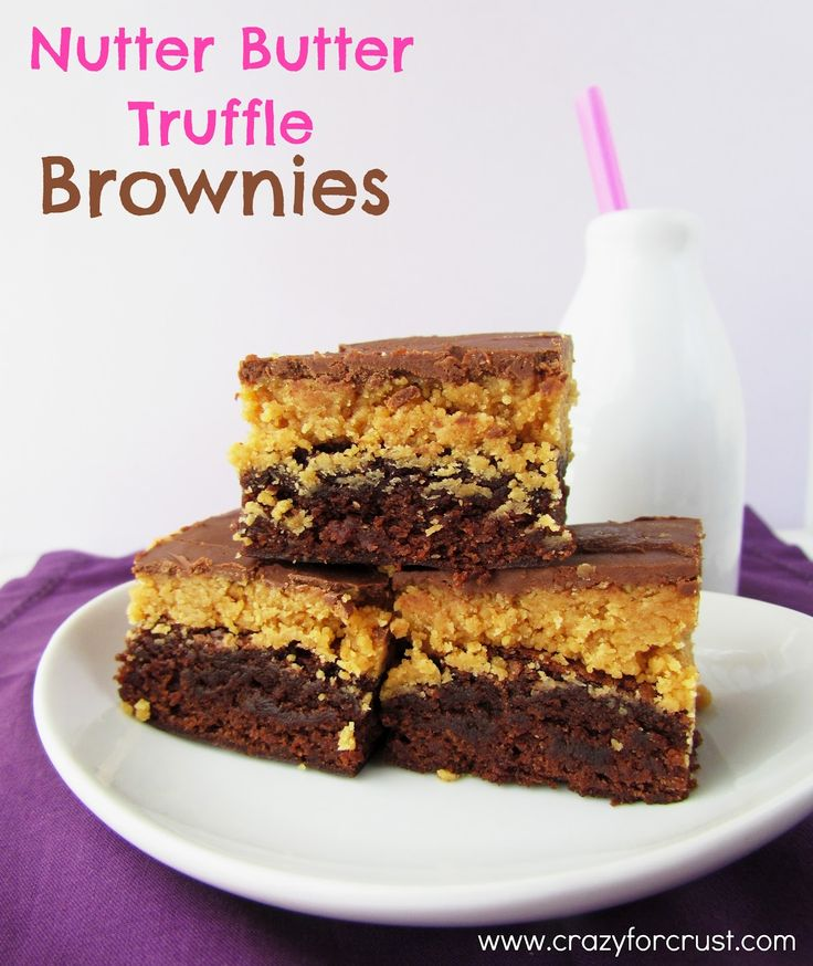 Nutter Butter Truffle Brownies - Crazy for Crust