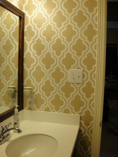 Before And After Moroccan Bathroom Wall Stencil
