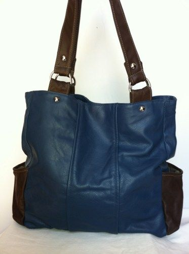 blue and brown italian leather medium purse tote shoulder bag handbag ...