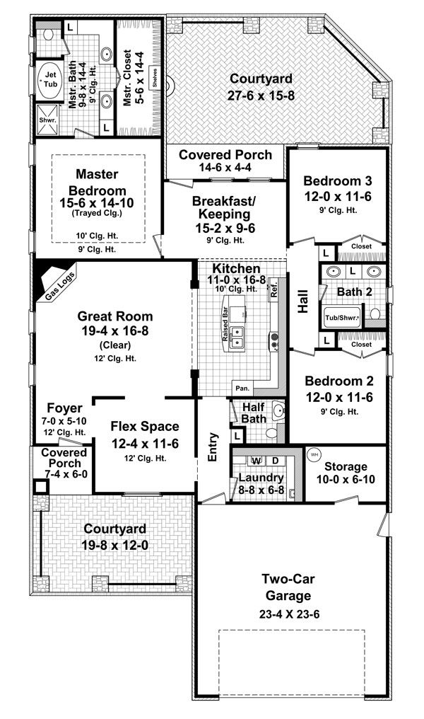 Cottage country european french country house plan 59159 for French cottage floor plans