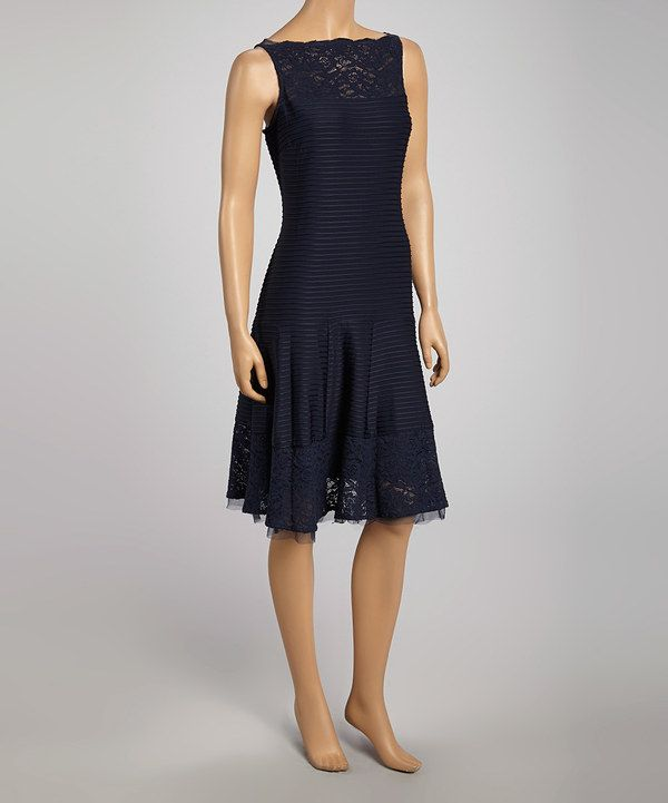 Gabby Skye Navy Stripe Lace Trim Drop-Waist Dress - Women