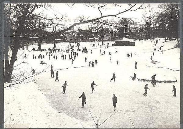 Vintage image of iceskaters at the springside pond courtesy friends