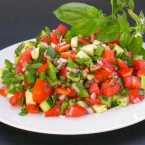 ... cucumbers, tomatoes, fresh basil and an awesome balsamic vinegar