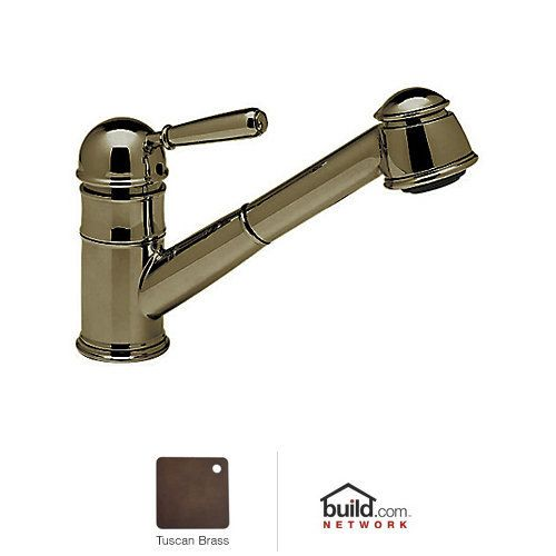 rohl r77v3 tuscan brass country kitchen faucet with pull out spray and