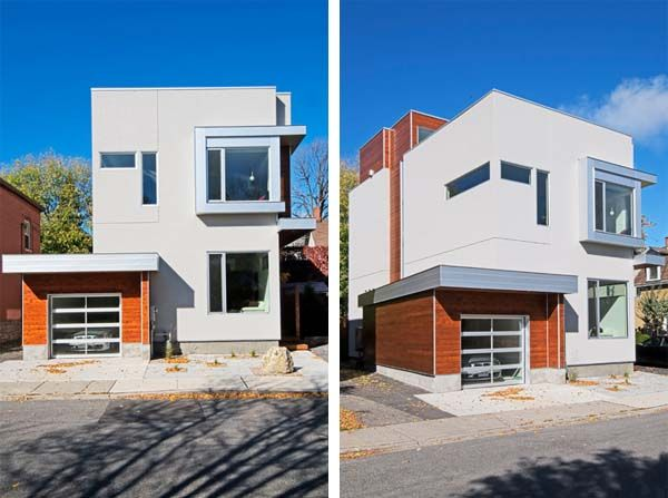 Geometric residence in ottawa featuring bold architectural elements
