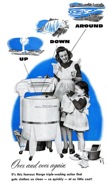How cute is the daughter's tiny toy wash board and basin? #vintage #1940s #laundry #washing_machine #mother #daughter #child #homemaker #housewife