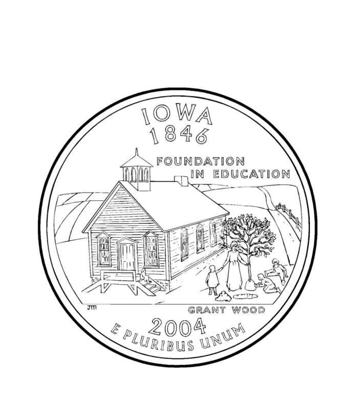 Coloring Pages Quarter : Iowa state quarter coloring page pages pinterest