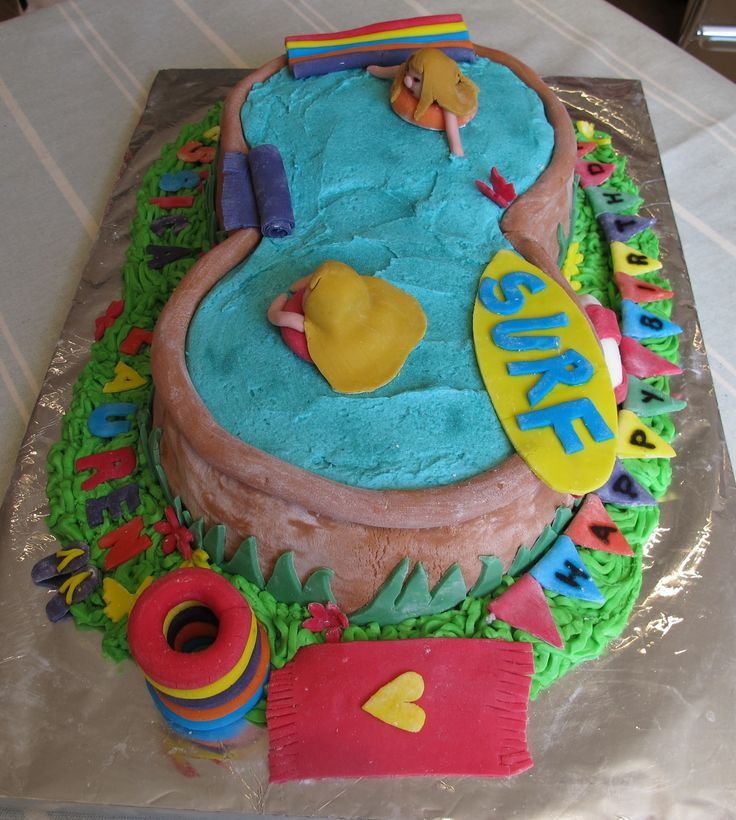 pool party themed birthday cakes