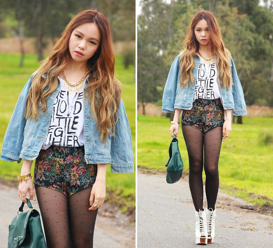 Somedays' Lovin Top, Romwe Denim Jacket, I Like Wolves Hot Pants