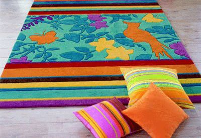 Sculptured Rugs, Decorating Ideas with Colorful Kids Rugs
