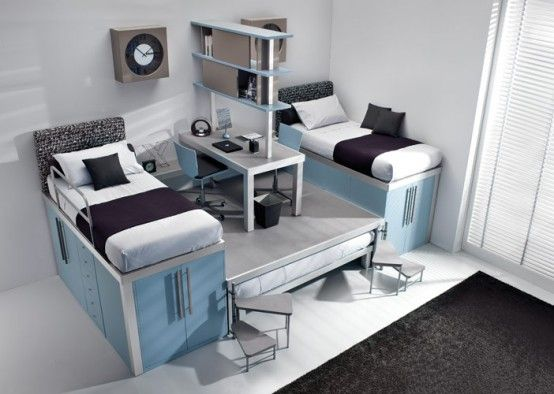Colorful Teenage Loft Bedrooms by Tumidei. 10 Smart Solution for Small Rooms. Clever small room ideas, small room layout. Room with bed, office and wardrobe