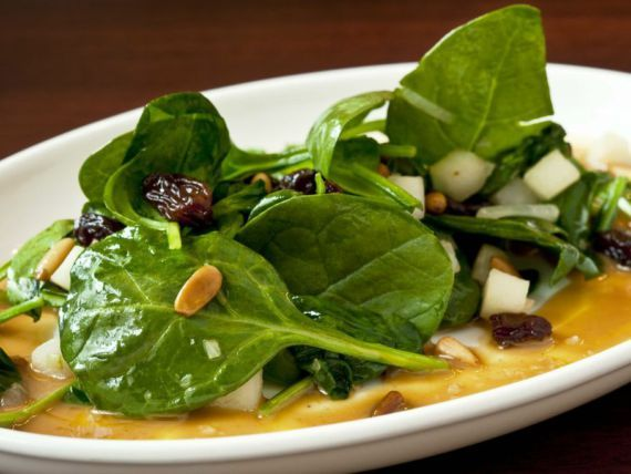 Catalan-style Spinach with Pine Nuts and Raisins. Catalonia