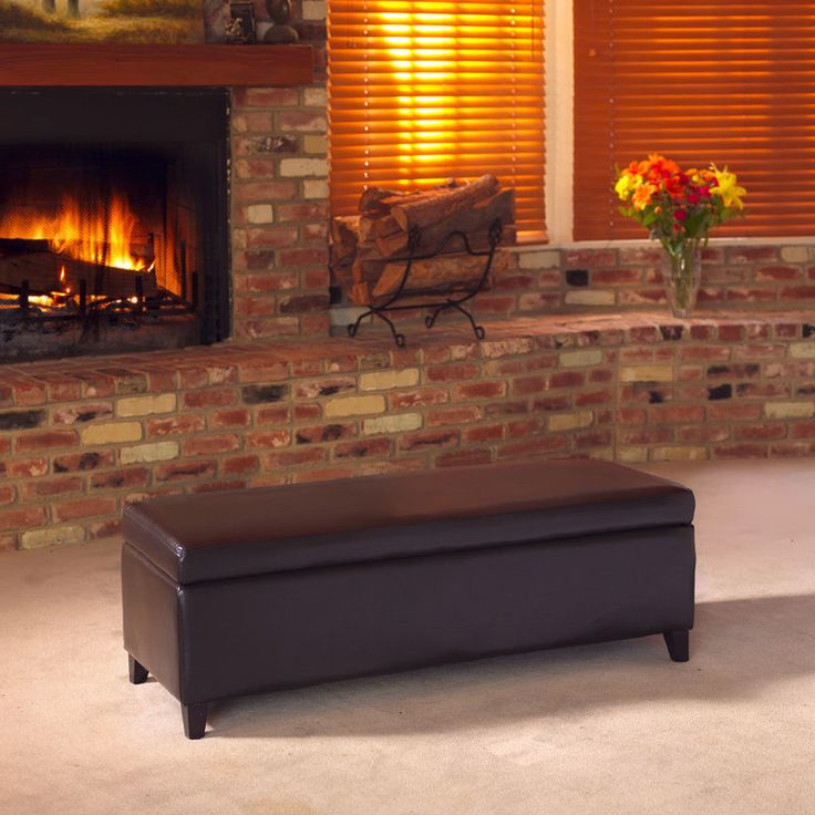 Large Brown Leather Ottoman Storage Bench Living Room