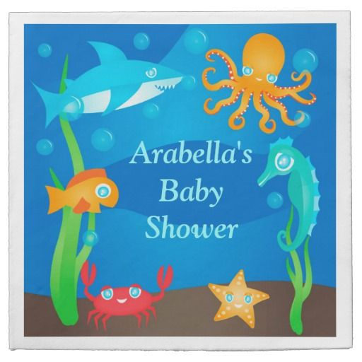 vibrant under the sea baby shower napkin disposable napkins