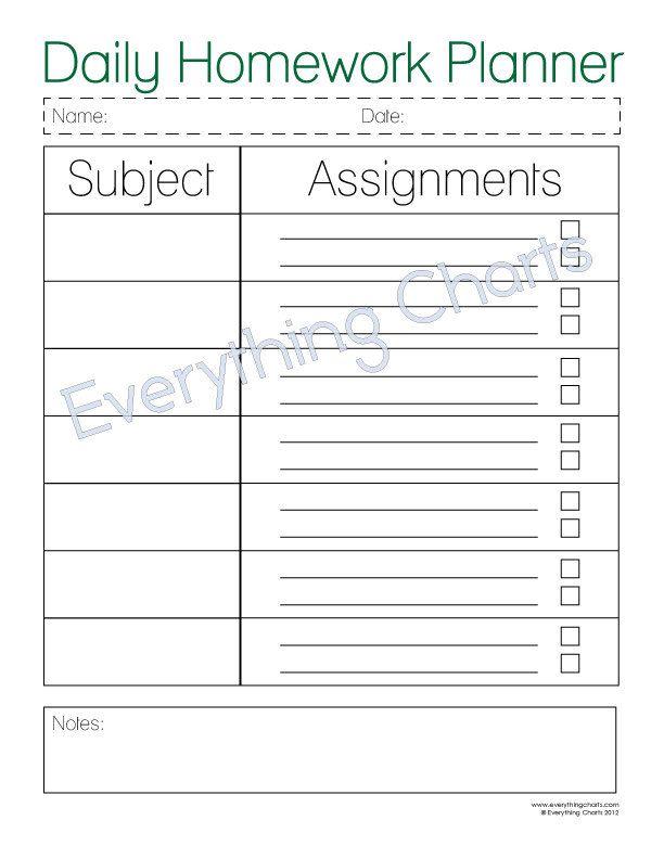 Daily Homework Planner - PDF File/Printable