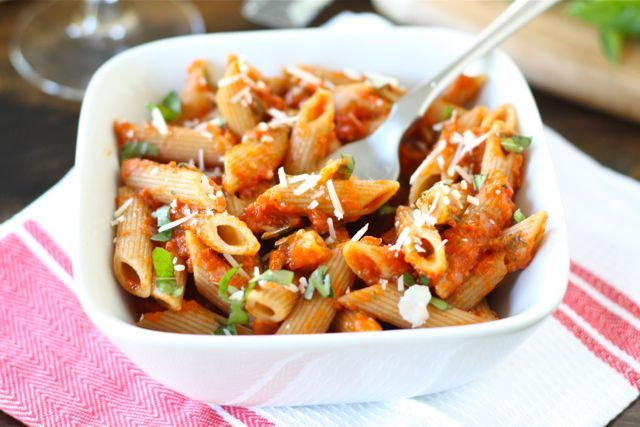 Penne with Roasted Red Pepper Sauce: red bell peppers, olive oil ...