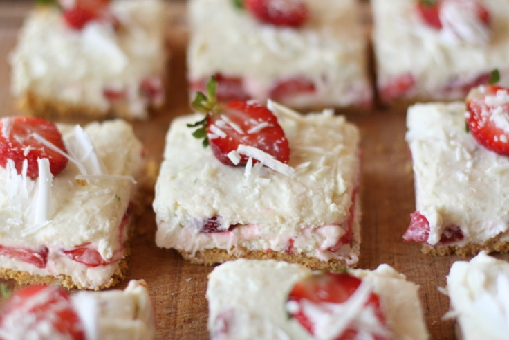 White Chocolate Strawberry and Lime Cheesecake Bars