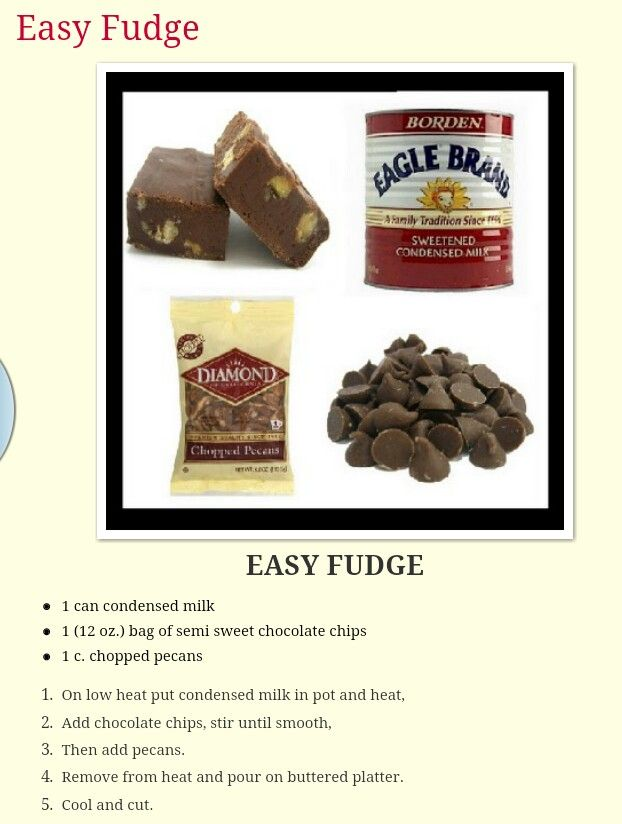Easy fudge - I don't use the nuts but do add in peanut butter chips or ...