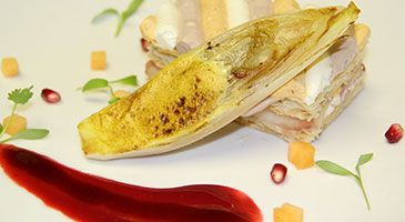 Braised Endive & Three Flavored Goat's Cheese Napoleon Recipe