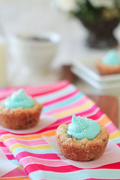 Baby Blue Chocolate Chip Oatmeal Cookie Cups... Add some red and white ...