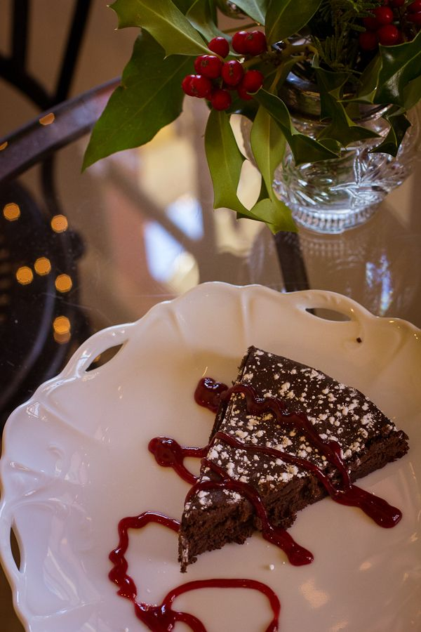 two pieces of Treats flourless chocolate cake for a Valentine's Day ...