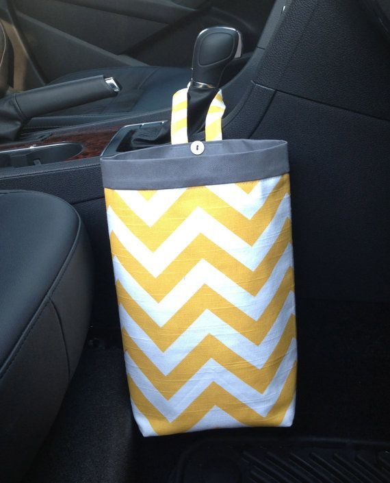 Car Trash Bag CHEVRON YELLOW, Women, Men, Car Litter Bag, Auto Accessories, Auto