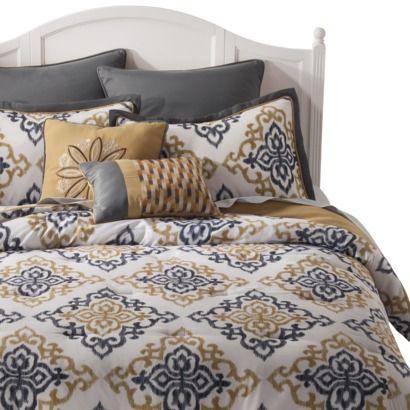 ikat mandalay 8 piece bedding set gold new house wish list pint. Black Bedroom Furniture Sets. Home Design Ideas