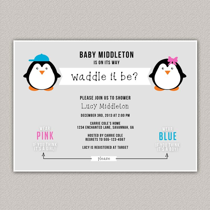 the gender baby shower baby shower invitation penguin baby shower