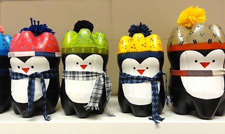 reuse old bottles to make penguins!