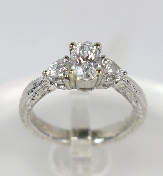 1 25 carats oval and heart shaped diamonds unique Engagement Ring