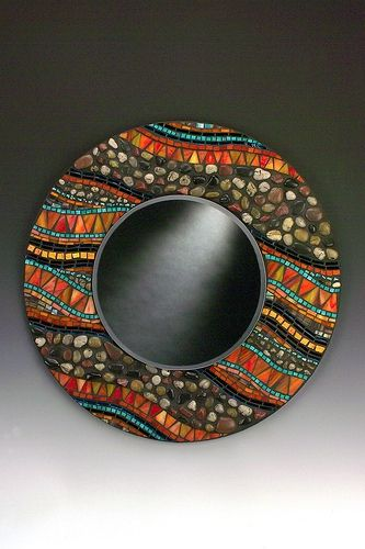 Orange And Stone Mosaic Mirror Cool Mosaic Ideas