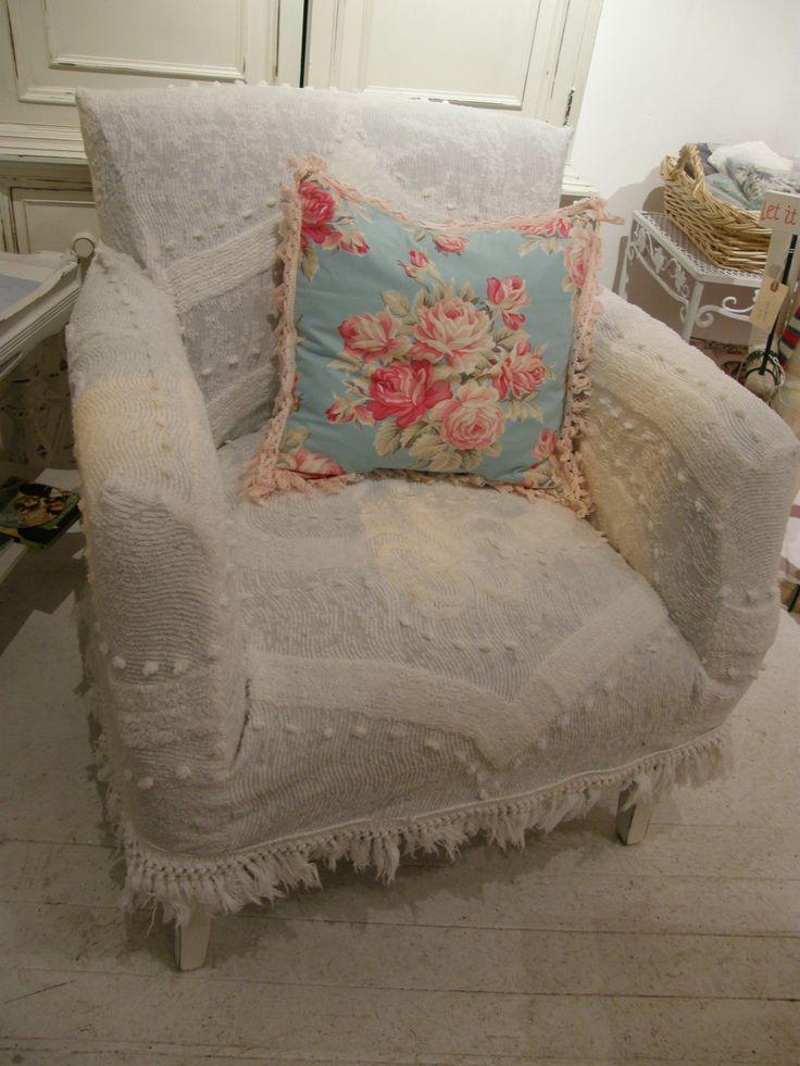 Custom shabby chic chair s vintage chenille bedspread slipcover wingb