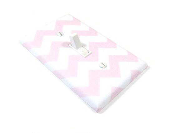 Baby pink chevron nursery decor light switch cover blake chevron