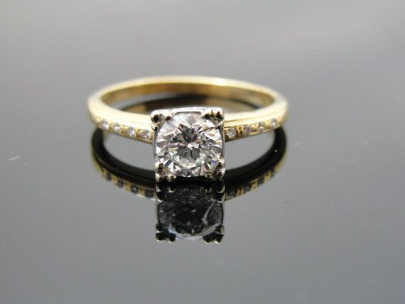 Retro1940s 1950s Engagement Ring Re Vamped with Pave Diamonds RGDIA1…
