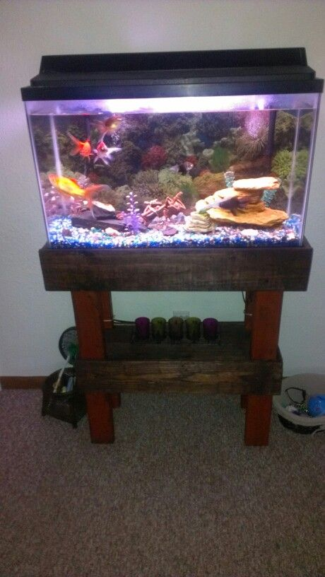 Fish tank stand wood rustic reclaimed pallet wood fish for Fish tank wood