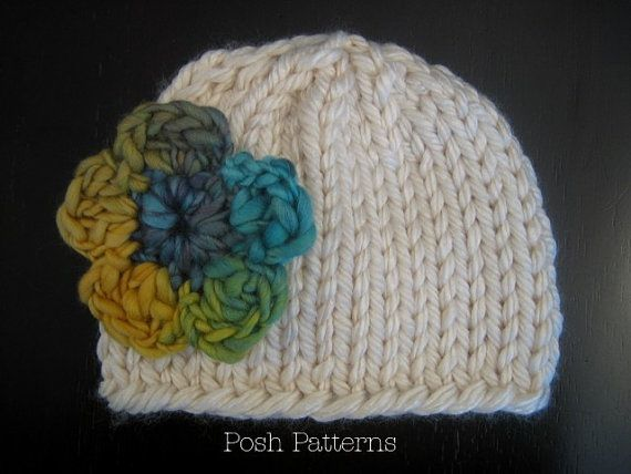 Easy Baby Beanie Knitting Pattern : Knitting PATTERN - Easy Knit Baby Hat Beanie - Instant Download PDF 2?