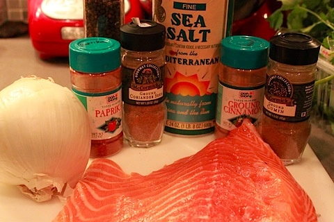 Spice-Rubbed Roasted Salmon with Lemon-Garlic Spinach