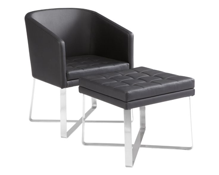 Benson chair amp ottoman black leather modern lobby chairs benches