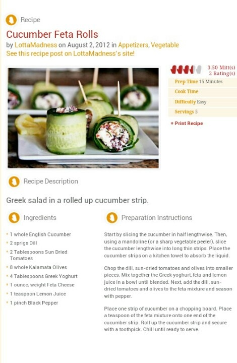 Cucumber Feta Rolls | Healthy Food | Pinterest