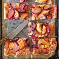 peach and plum tart is a great way to use up some summer fruit!