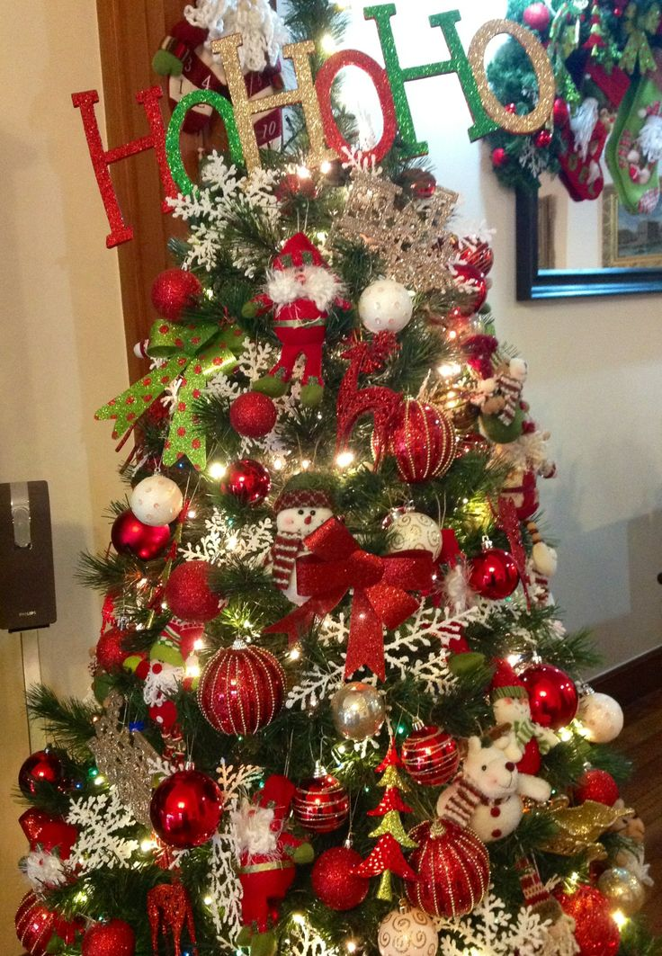 Red green and gold christmas tree ideas for new old for Gold xmas tree