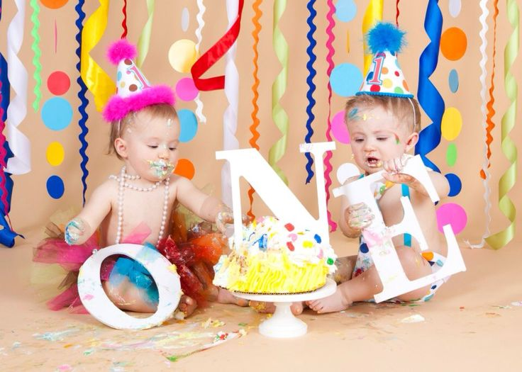 Twins first birthday smash cake photo session Used letters from hobby ...