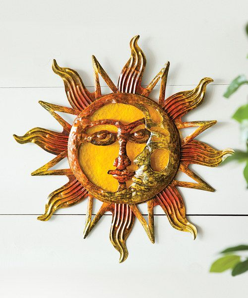 glass metal sun wall art