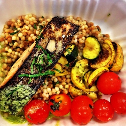 ... salmon served with Israeli couscous, roasted squash & marinated cherry